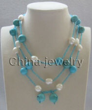 """N8307 - 51"""" 12-14-16mm natural white freshwater pearl & turquoise necklace"""