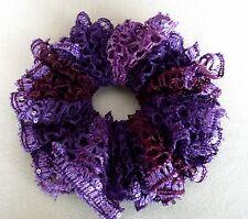 SALE!! Hand Crocheted Hair Scrunchy, Ponytail Holder, Bun Holder Purples w/sequi