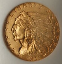 1911-D $2.50 Indian Quarter Eagle Gold Coin NGC MS-64 Very Choice UNC; KEY DATE