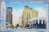 Hollywood, Los Angeles, CA 1943 Linen Postcard: Hollywood Boulevard Looking West