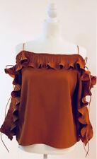 Ruffle Pleats Sleeve Ribbon Detail Top Small/Ochre