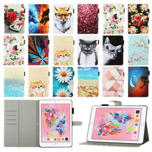Painted Leather Folio Wallet Case Cover for iPad 5 6 7th Gen 10.2 Pro Air Mini