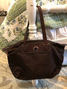 Dooney & Bourke  Nylon Tote Bag-Brown   with Brown   Leather Trim