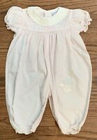 Vintage Petit Ami Smocked & Embroidered Bubble Romper NB Pink Check Baby Birds