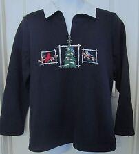 NWT Breckenridge Woman 2X embroidered bird fleece Christmas sweater 1/2 zip $58