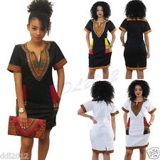 Plus Size Women Sexy Ethnic Print Dashiki Bodycon Casual Short Sleeve Dress New