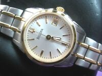 BULOVA 98M105 LADIES CASUAL WATCH S/S & GOLD PL PEARL DIAL DAY INDICATOR ANALOG