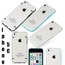For iPhone 5C - HARD RUBBER CANDY GEL GUMMY SKIN CASE TRANSPARENT CLEAR COVER