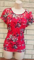 M&CO ROSE PINK GREY FLORAL LACE SHORT SLEEVE FITTED BLOUSE T SHIRT TOP TUNIC 10
