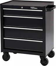 4 Drawers Tool Box Chest Cart w/ Wheels Metal Roll Around Rolling Storage Black