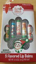 New Elf on The Shelf- 5 Flavored Lip Balms with Bonus Keychain ~Christmas