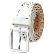 Falari® Men Braided Belt Stainless Steel Buckle Genuine Leather 35mm 9007