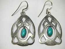 Rare Signed Navajo Johnny Johnson Sterling Silver Turquoise Dangle Earrings 7.2g