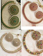Indian Pakistani Bollywood Bridal Copper Necklace Earrings Gold Plated Choker