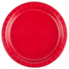 "24 Plates 6 7/8"" Paper Dessert Plates Wax Coated - Red"