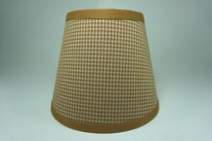 Country Primitive Honey Brown Mini Check Homespun Fabric Lampshade Lamp Shade