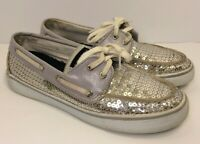 SPERRY TOP-SIDER Women's Silver Sequin Slip On Boat Shoes (Size 7)