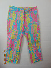 Lilly Pulitzer Size 8 Stretch 97% Cotton Blue/Pink/Yellow/Green  Floral
