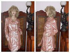 NWT Shiny Pink PVC Vinyl Raincoat M Trench Coat Rain Jacket Rain Slicker clips