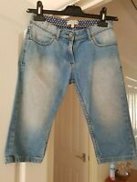 Girl's Mark & Spencer Blue Faded Cropped Jeans, Age 10 Years, Height 140 cm, GC