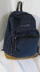 Vintage Leather Bottom Jansport  Men's Women's  Backpack/Book Bag Blue MEXICO