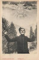 1916 FRENCH HAPPY NEW YEAR MAN in UNIFORM in SNOWY FOREST MONEY POSTCARD - USED