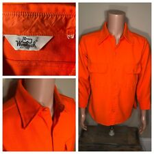Vintage Woolrich Long Sleeve Orange Hunting Acrylic Button Shirt Men's Large