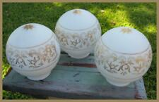 Set of 3 Antique Glass Lamp Shades Globes Gold Scroll Work Art Nouveau