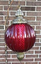 VINTAGE LG.RED/PINK GLASS GLOBE SWAG HANGING LIGHT W/CHAIN MID CENTURY STUNNING