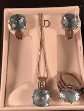 Cushion Blue Topaz Set Pendant Necklace Earrings Ring Silver Gold Stone Estate