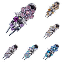 Women's Flower Barrettes Hair Slide Clips Hairpin Pins Crystal Hair Accessories
