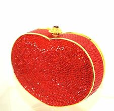 Judith Leiber Heart n Soul Ruby RED GOLD Lieber Clutch Vintage Valentine bag