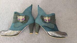 Irregular Choice Miaow Cat Boots Size UK 6 EU 40 green