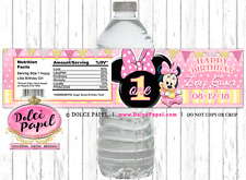10 Pink and Yellow Polka Dot Baby Minnie Mouse 1st Birthday WATER BOTTLE LABELS