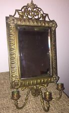 Antique Brass Hanging Mirror and 3 Sconce- Art Nouveau with Beveled Mirror