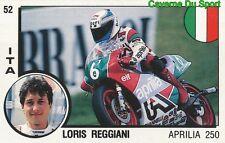 052 LORIS REGGIANI APRILLIA 250 MOTO STICKER SUPERSPORT 1988 PANINI RARE & NEW