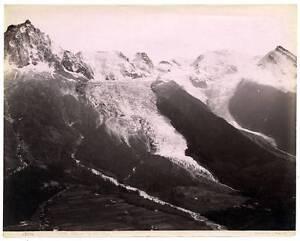 Chamonix Montagne Alpes France Glacier Vint. photo albuminé vers 1890 G Sommer