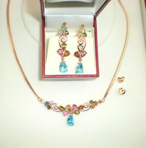 Real Topaz Multi-color Tourmaline Bar Necklace & Earrings 14K on Sterling Silver