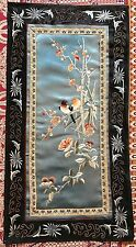 "Antique Chinese Panel Wall Hanging Hand Embroidery On Silk Art Textile 14"" X 26"""