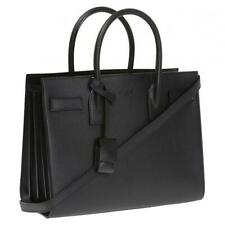 SAINT LAURENT Baby Sac De Jour Leather Satchel Tote Bag Black Enamel Hardware