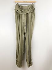 NWT ZARA Woman Semi-Sheer Pull-On Harem Pants Zip Cuffs Olive SZ L