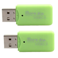 Green USB 2.0 Card Reader T-Flash Memory Card Adapter for Micro SD / TF