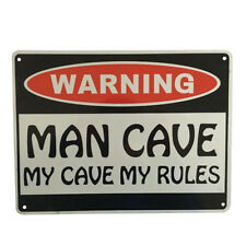 2x WARNING SIGN MAN CAVE My Cave My Rules 225x300mm Metal Safe Private Notice