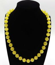 Pretty! 10mm Yellow Mexican Opal Gemstone Round Beads Necklace 20''