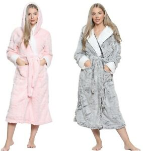 Womens Snuggle Fleece Dressing Gown Robes Extra Long Cuddly Plush Bathrobe Gowns