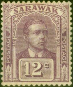 Sarawak 1918 12c Purple SG56 Fine Lightly Mtd Mint