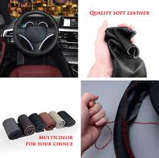 Car DIY Steering Wheel Covers Soft Real Leather Braid Steering-wheel Protector