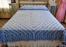 MIDCENTURY BLUE & WHITE SOFT COTTON  CHENILLE BEDSPREAD