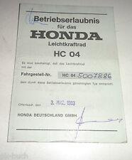 Betriebserlaubnis / Datenblatt / Typenschein Honda MBX 80 Typ HC 04 Stand 3/1983