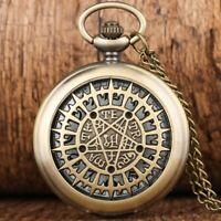 Vintage Quartz Pocket Watch Anime Black Butler Hollow Pentagram Chain Men Women